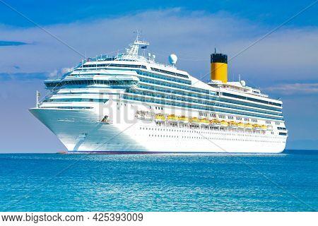 Beautiful White Cruise Liner. Big Sea Ship