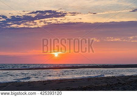 Sunset On The Beach On North Side Of The Provincelands Cape Cod, Atlantic Ocean View Ma Us.