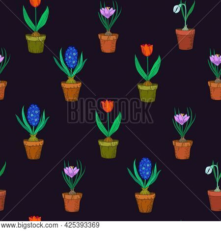 Floral Seamless Pattern. Vector Illustration With Spring Flowers.