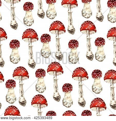 Seamless Pattern With Forest Musrooms. Watercolor Realistic Illustration