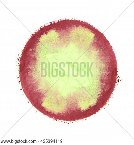 Red And Green Watercolor Round Circle Texture Splash Isolated On White Background With Uneven Edges.