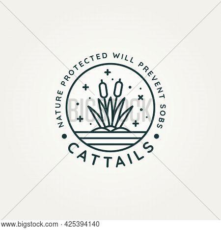 Cattails Above The Water Minimalist Line Art Logo Badge Vector Illustration Design. Simple Modern Re