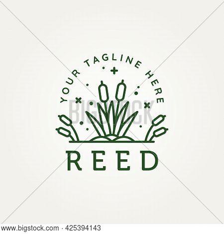 Reed Cattails River Minimalist Line Art Logo Vector Illustration Design. Simple Modern Reed, River P