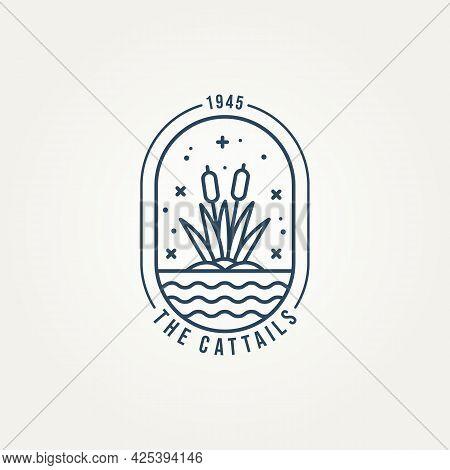 Cattails Minimalist Line Art Logo Badge Vector Illustration Design. Simple Modern Reed, Plant, Creek