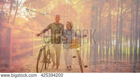 Digital composite image of caucasian forest against senior couple walking with bicycle at the beach. retirement senior couple lifestyle living concept