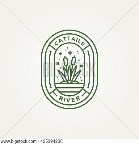 Cattail On The River Minimalist Line Art Badge Logo Vector Illustration Design. Simple Modern Reed,