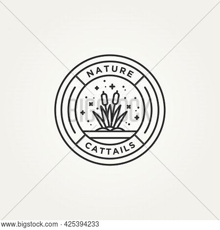 Cattail Nature Plant Minimalist Line Art Badge Logo Vector Illustration Design. Simple Modern Reed,