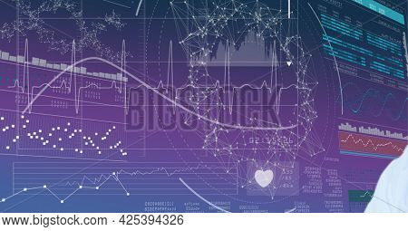 Mid section of doctor against network of connections and medical data processing in background. medical research and science technology concept