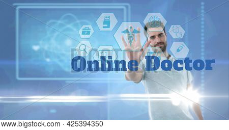 Online doctor text and medical icons against portrait of caucasian man touching invisible screen. medical research and science technology concept