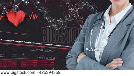 Mid section of female doctor against network of connections and medical data processing. medical research and science technology concept
