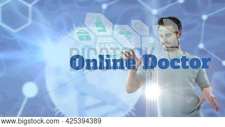 Online doctor text and medical icons against caucasian man touching invisible screen. medical research and science technology concept