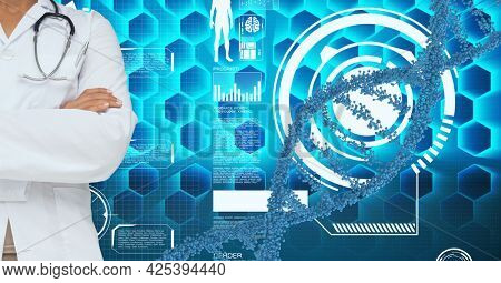 Mid section of doctor against dna structure and medical data processing. medical research and science technology concept