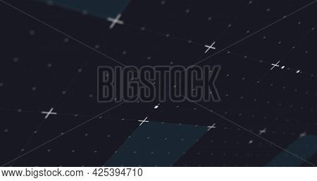 Image of glowing blue squares and moving markers on grid background. digital interface connection and communication concept digitally generated image.