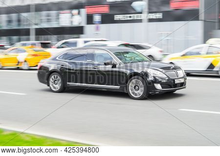 Moscow, Russia - June 2021: Hyundai Equus Centennial On The Street In Motion. Front Side View Of A P