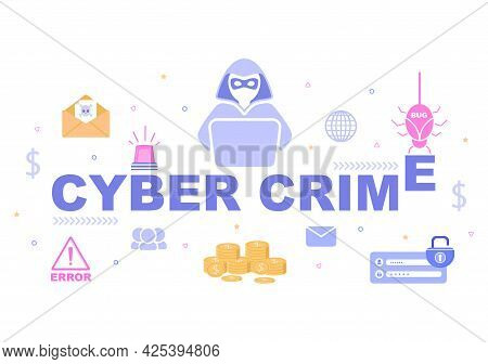 Cyber Crime Illustration Phishing Stealing Digital Data, Device System, Password, And Bank Document