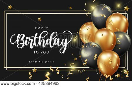 Happy Birthday Vector Banner Design. Happy Birthday To You Greeting Text With Golden Balloons And Co