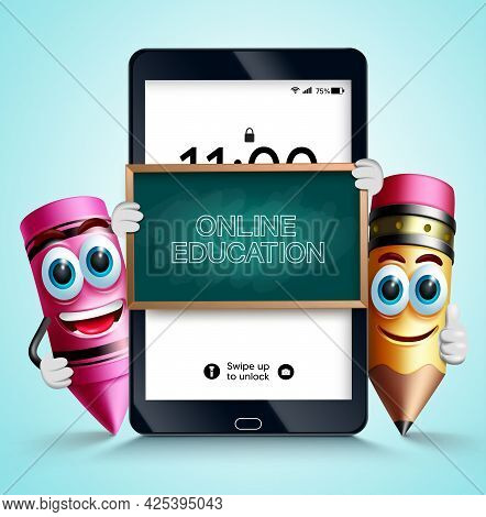 Online Education Vector Design. Online Education Text In Tablet Study Device With Pencil And Crayon