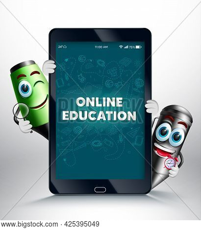Online Education On Phone Vector Design. Online Education Text In Chalkboard And Mobile Device Scree