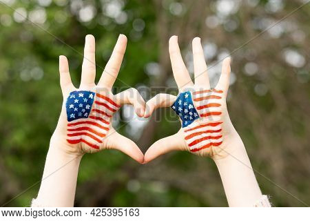Hands Of Child Painted In American Flag Color In Heart Shape. Patriotic Holiday. Independence Day, F