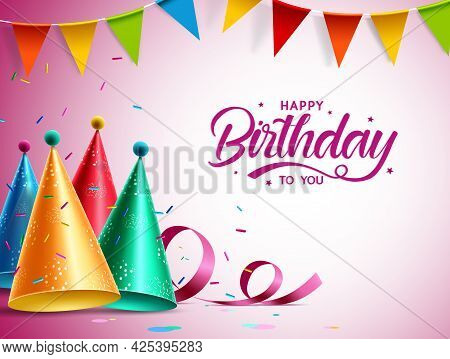 Happy Birthday Vector Banner Design. Happy Birthday To You Text With Colorful Kids Party Elements Li
