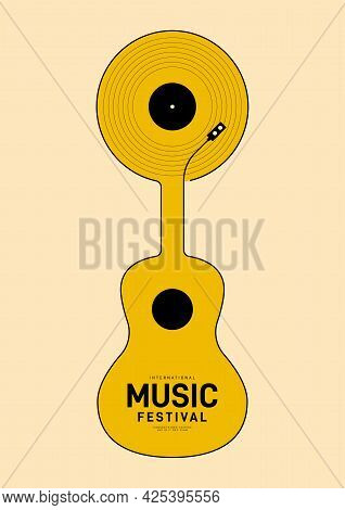 Music Festival Poster Design Template Background With Vinyl Record And Guitar. Design Element Templa
