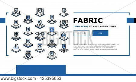 Fabrics Properties Landing Header Vector. Elastic And Stretched, Warm And Cool, Antibacterial And Br