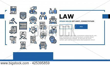 Law Justice Dictionary Landing Header Vector. Family And Social Norms, Leasing And Breach Of Contrac