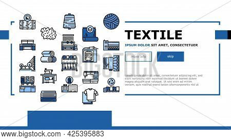 Textile Production Landing Header Vector. Silk Thread And Clothing Textile Production, Sewing Machin