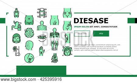 Disease Health Problem Landing Header Vector. Open And Closed Limb Fracture, Nose And Arterial Bleed