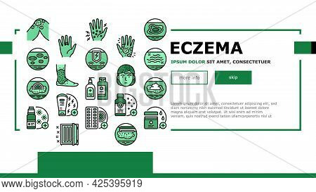 Eczema Disease Treat Landing Header Vector. Nummular And Neurodermatitis Eczema Treatment, Dry Skin