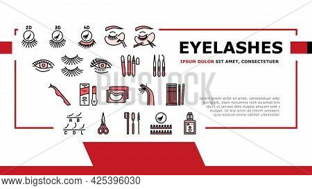 Eyelashes Extension Landing Header Vector. Applying And Correction Eyelashes, Patches And Tweezers,