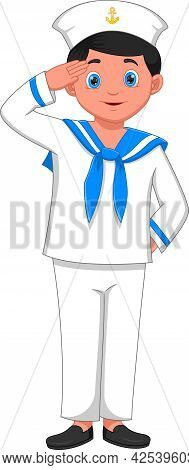 Cartoon Boy Wearing Navy Sailor Costume On White Background