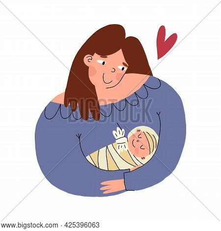 Mother Carefully Holds And Hugs Her Little Baby With Love And Tender Smile. Vector Cartoon Isolated