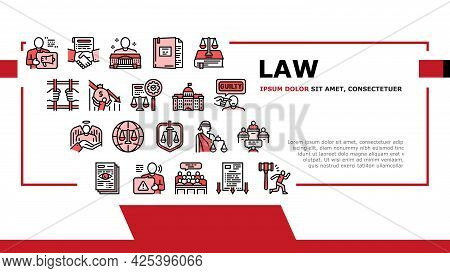 Law Notary Advising Landing Header Vector. Law Advisor And Agreement, Government Building, Court And