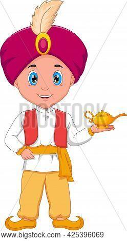 Cartoon Little Aladdin Holding His Magic Lamp
