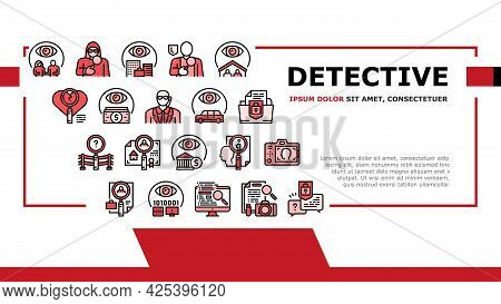 Private Detective Landing Header Vector. Detective Job For Protection Of Intellectual Property And I