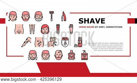 Shave Treat Accessory Landing Header Vector. Razor For Shave Mustache And Beard, Epilator Device And
