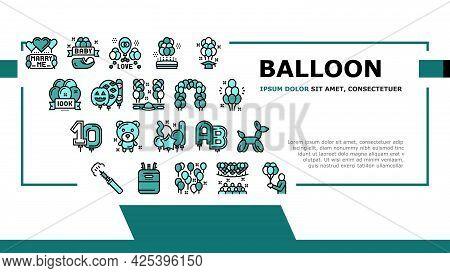 Balloon Decoration Landing Header Vector. Birthday And Wedding Day Celebration, Graduation And Hallo