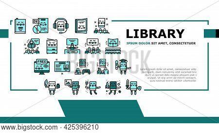 Children Library Read Landing Header Vector. Children Library Reading Material And Activity, Educati
