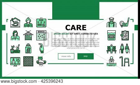 Elderly People Care Landing Header Vector. Golf Game And Chess Playing, Swimming Exercise And Traini