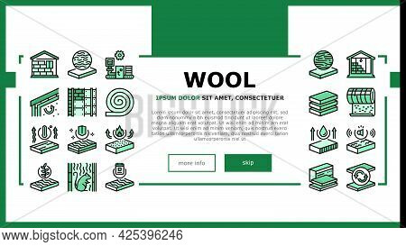 Mineral Wool Material Landing Header Vector. Glass And Basalt Mineral Wool, Thermal And Noise Insula