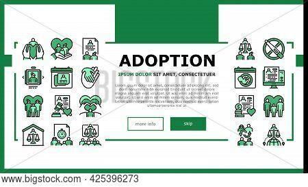 Child Adoption Care Landing Header Vector. Child Adoption Cost And Schedule Consultation, Unplanned