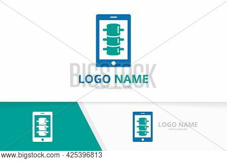 Spine And Phone Logo Combination. Vertebral Column And Device Logotype Design Template.