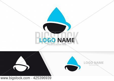 Water Drop Abstract Logo. Ecological Droplet Logotype Design Template.