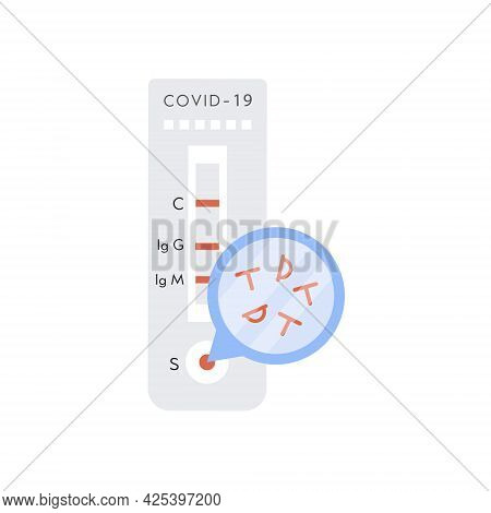 Covid-19 Rapid Test With Antigen Molecules. Coronavirus Express Test With Positive Result. Vector Il