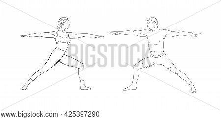 Yoga Warrior Asana Or Virabhadrasana I. Woman And Man Practicing Yoga Asana. Hand Drawn Vector Illus