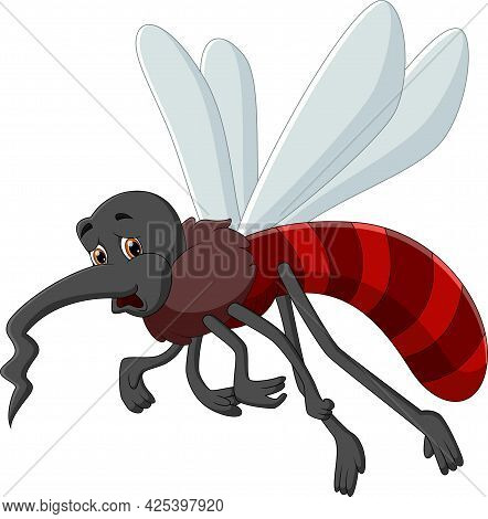 Tired Mosquito Cartoon Isolated On White Background