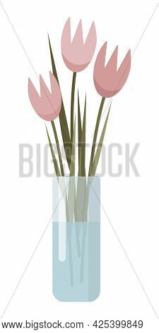 Pink Flowers In A Glass Vase. Tulips In Vase With Water. Minimalistic Illustration With Abstract Flo