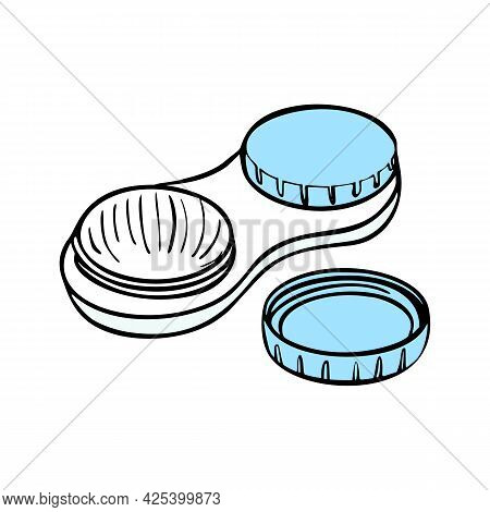 Contact Lenses Health Care Vector Illustration. Ophthalmology Cartoon Icons Set. Vector Illustration