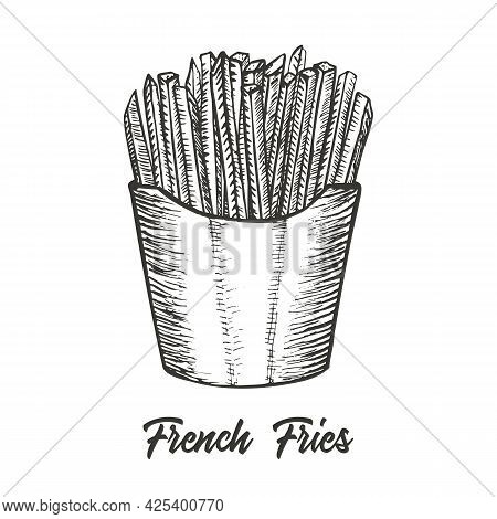 French Fries Hand Drawn Sketch Illustration. Vector Detailed Fast Food Icon. Vector Illustration